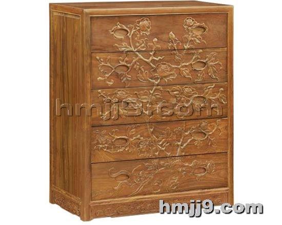 红木家具网提供生产红木牡丹花五斗柜厂家